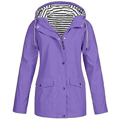 Keepmove Coat for Women Winter, Women Solid Rain Jacket Outdoor Plus Size Waterproof Hooded Raincoat Windproof Purple