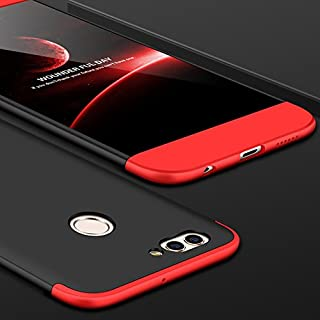 Ocamo for Huawei PU NOVA 2 Plus Ultra Slim 360 Degree Non-Slip Shockproof Full Protective Case (Red black red)