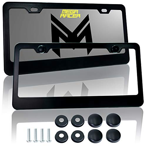 Mega Racer Metal Black License Plate Frame - 2 Hole Slim Front and Rear Black Aluminum License Plate Frames with Stainless Steel Screws and Black Screw Caps (2 Pieces)