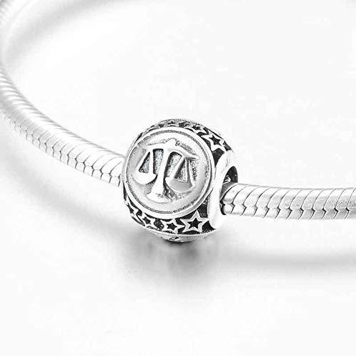 Zzwbsd 925 Sterling Silber Mode 12 Sternbild Sternzeichen Perlen Charms Fit Original Bettelarmband SchmuckherstellungWaage