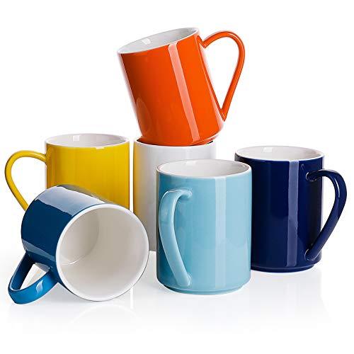 Sweese 603.002 6er Set Kaffeebecher aus Porzellan, 350 ml, Tasse mit großem Henkel für Heißgetränke, Bunte Serie