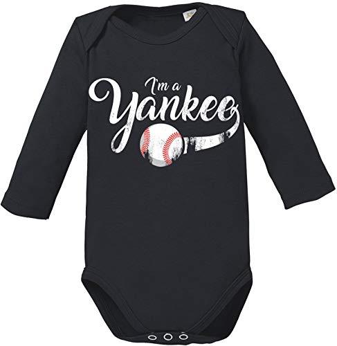 EZYshirt® I`am a Yankee Baseball Shirt Body Baby Lange Mouw Biologisch Katoen