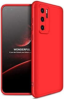 GKK Full Protection Anti-Shock PC 3 PCs Case for Huawei P40 Pro Without Screen Protector (Black-Red)