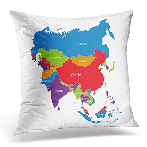 Funda de almohada colorida Mapa de contorno de Atlas de Asia con nombres de países Blanco Frontera del continente asiático Decoración del hogar Funda de almohada de cojín cuadrado 18x18 pulgadas