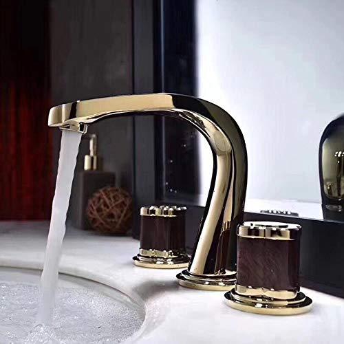 Baño grifo del fregadero de la Cuenca grifos de latón Oro Paint 3 agujeros doble asa de lujo Bathbasin bañera caliente y fría grifos de agua del mezclador