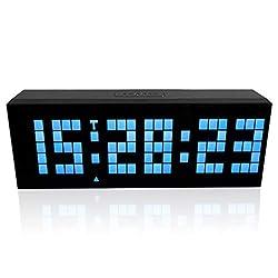 m·kvfa Multi-Function Remote Control Luminous Digital Timer 6-bit 5 Segment LED Clock Desktop Table Clocks Low Power Consumption for Airport Exhibition Hall Office Hospital Hotel (Blue)
