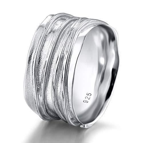 Easunny Ring Herren Damen 10mm Breit Wellen Struktur Ringe Bandring Sterling Silber 925(61 (19.4))
