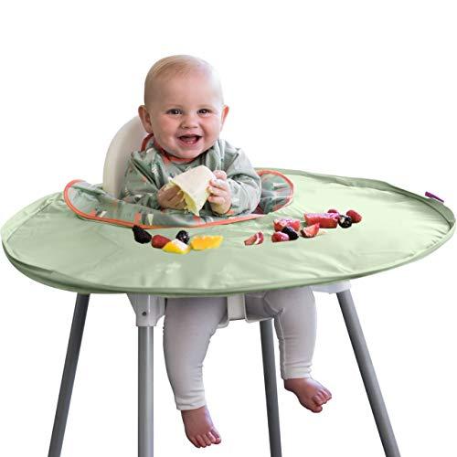 Auffang Lätzchen mit Ärmeln - Lätzchen Hochstuhl Tischplatte Set Tidy Tot - Baby Lätzchen wasserdicht - extra Ganzkörper Abdeckung - Entwöhnungs Lätzchen abwaschbar - BLW - Lätzchen mit langen Ärmeln