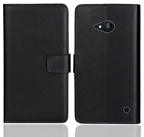 FoneExpert® Nokia Lumia 735 730 Handy Tasche, Wallet Hülle Flip Cover Hüllen Etui Ledertasche Lederhülle Premium Schutzhülle für Nokia Lumia 735 730 (Schwarz Farbe)