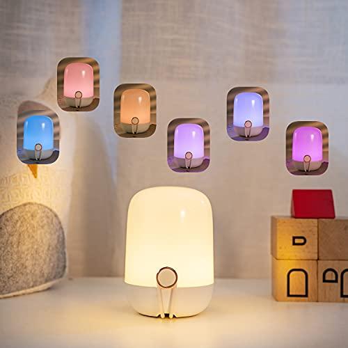 Nachtlichter Lampe für Stillen und Wickeln, LED Still Nachtlicht für Kleinkind, Baby und Mama, Frisch Gebackene Eltern, Stufenlos dimmbares Aufladbar mit Farbwechselfunktion