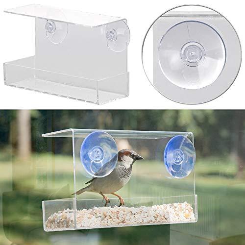 Royal Gardineer Futterhäuschen: Vogel-Futterhaus aus Acryl mit Saugnapf-Befestigung fürs Fenster (Vogelfutterstelle)