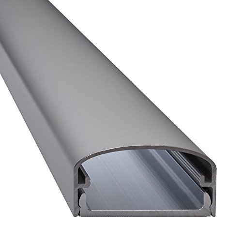 Design Alu Kabelkanal 'BIG MOUTH' für TV , Beamer etc. - silber matt eloxiert - Länge 50cm - Platz für viele Kabel - 50 x 5 x 2,6 cm - komplett aus Aluminium