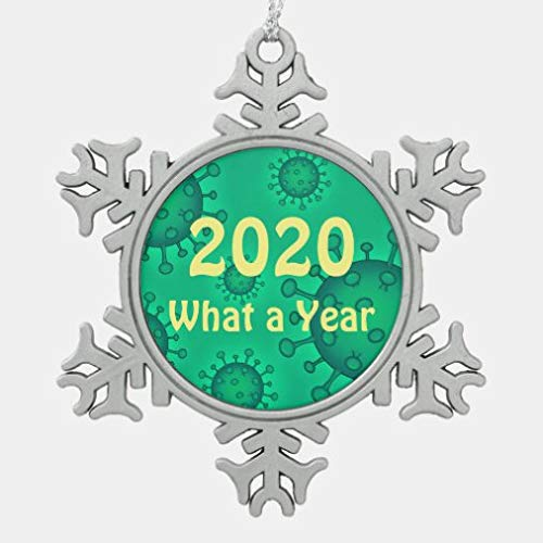 onepicebest 2020 What A Year Snowflake Pewter Christmas Ornament Xmas Tree Hanging Decoration, Keepsake for Family Friends, Christmas New Year Gifts, Memorial Ornament