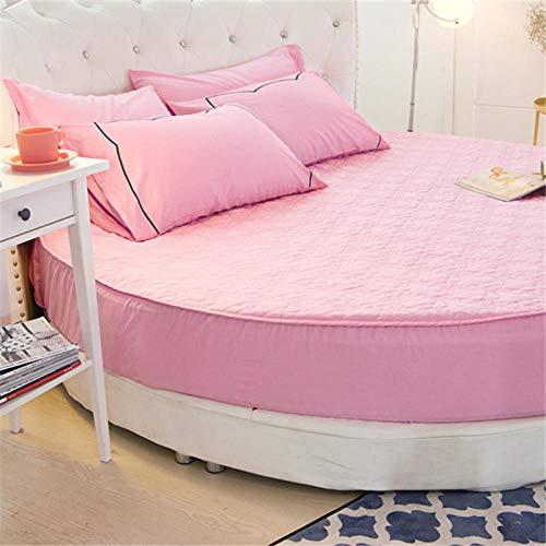 HPPSLT Protector de colchón/Cubre colchón Acolchado de Fibra antiácaros, Transpirable, Cama Redonda de algodón Color Liso Espesamiento-Rosa_1.6m