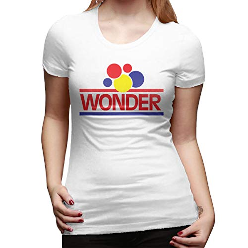 SPower.Tee Womens Wonder Bread Logo Cool T-Shirt L White with Women's Short Sleeve