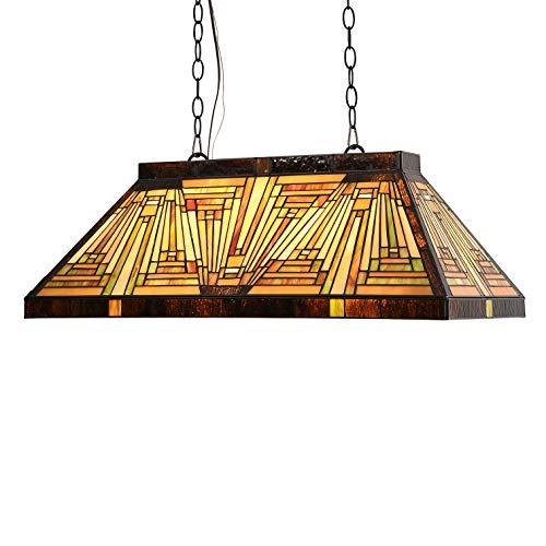 Capulina Tiffany Ceiling Pendant Lamp 3 Light Pool Table Lighting 28 inch Tiffany Mission Style Billiard Light Fixture for Game Room Beer Party Men's Cave Bar Club CL288801CP
