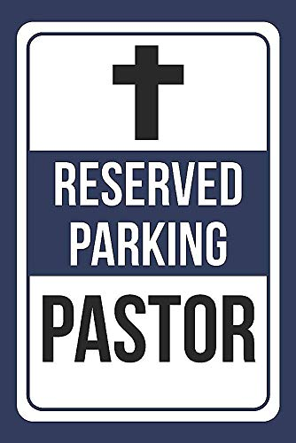 Dreamawsl Metal Aluminum Sign - Reserved Parking Pastor Print BlueWhite and Black Notice Parking Sign of Signs 12 x 8 inch