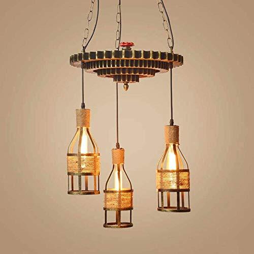 WEM Candelabro decorativo novedoso, candelabro industrial de madera con rueda de engranaje de 3 luces, pantalla de lámpara con forma de botella de metal, lámpara colgante vintage, restaurante, bar, c