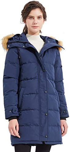 Orolay Women s Thickened Down Coat with Adjustable Hood Warm Winter Jacket Navy product image