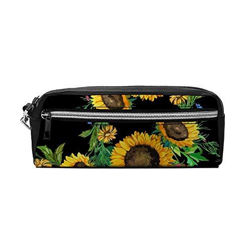 Sunflowers Trousse à crayons en cuir PU avec fermeture éclair pour femmes et filles