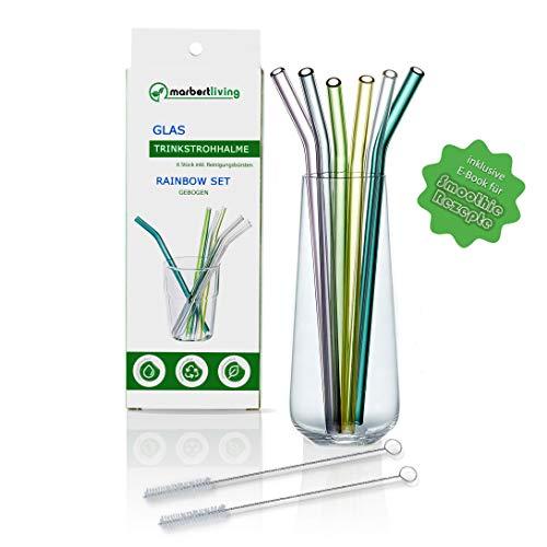 Wiederverwendbare Premium Glas Strohhalme inkl. Reinigungsbürsten und Smoothie Rezepten - 6er Set gebogen, 20cm x 8mm - Trinkstrohhalme in sommerlichen Farben für die ganze Familie