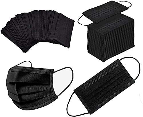 100 Pack Black Disposable Face Breathable Dust Filter Mouth Cover Masks with Elastic Ear Loop