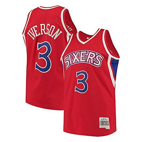 LSJ-ZZ Jersey de Baloncesto NBA 76ers 3# Allen Iverson Jersey Bordado Retro, Tela Fresca Transpirable, Uniforme de fanático de Baloncesto,Rojo,XXL