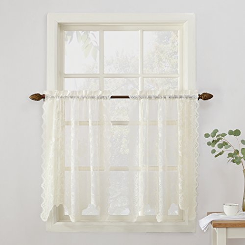 """No. 918 48929 Alison Sheer Lace Elongated Kitchen Curtain Tier Pair, 58"""" x 36"""", Ivory"""