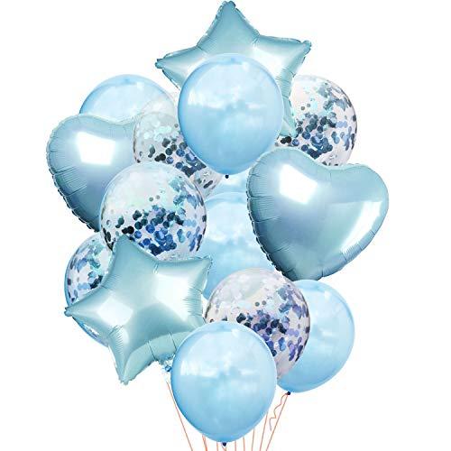 Oblique Unique® 14 Globos de Confeti Decorativos, Juego de Globos con Corazones, Estrellas para cumpleaños, celebración, Aniversario, Boda, JGA Baby Shower Party Azul