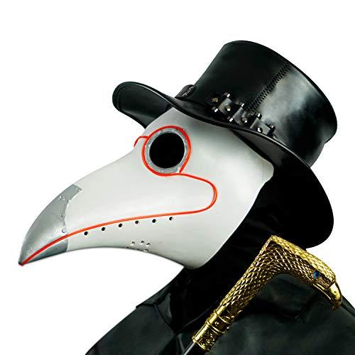CreepyParty LED Máscara Doctor Peste Pájaro de Nariz Larga Máscaras de Accesorios de Disfraces de Halloween Steampunk Iluminar Blanco