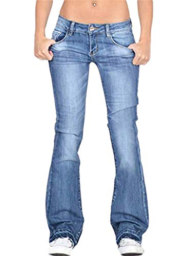 Amazing Deal Andongnywell Women's Juniors High Bell Bottoms Jeans Flare Jeans Boho Solid Hippie Wide...