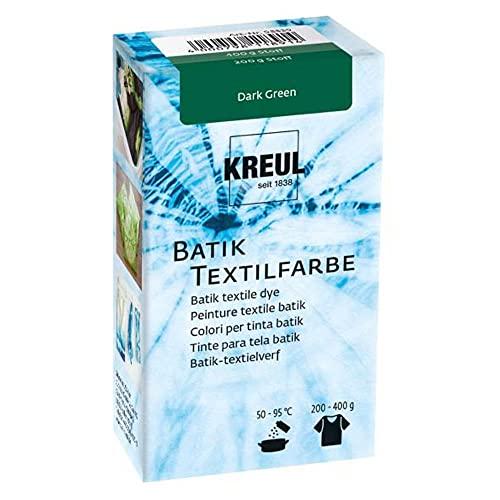 Kreul 98539 - Batik-Textilfarbe Dark Green, 70 g, Farbpulver zum Batiken und Färben von Textilien