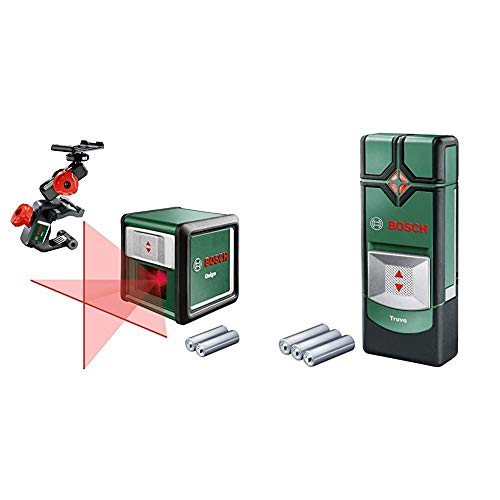 Bosch Kreuzlinienlaser Quigo mit Multihalterung MM 2 (3. Generation, Reichweite: 10 m) & Ortungsgerät Truvo (3 x AAA Batterien, Erfassungstiefe Stahl/Kupfer/stromführende Leitungen max. 70/60/50 mm)