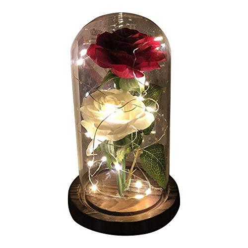jieGorge Decoración y Colgantes, la Belleza y la Flor de simulación de Rosa con luz LED y Rosa roja, para el día de San Valentín (Multicolor)