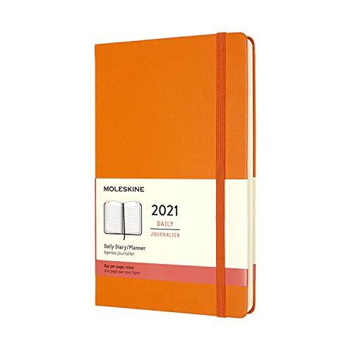 Moleskine Agenda Giornaliera 12 Mesi 2021, Daily Planner 2021, Copertina Rigida e Chiusura ad Elastico, Formato Large 13 x 21 cm, Colore Arancio Cadmio, 400 Pagine