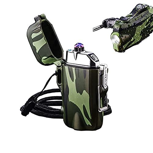 SKRFIREライター屋外、防水デュアルアークライターLED懐中電灯付き防風電気ライター、充電式USBライターキャンプ、ハイキング用ストラップ付き無炎プラズマライター(カモフラージュ)