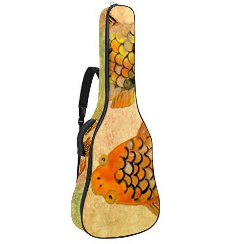 Funda para guitarras acústicas tela Oxford impermeable estilo de moda con bandolera y asa para guitarras clásicas Suerte de la carpa 42.9x16.9x4.7 in