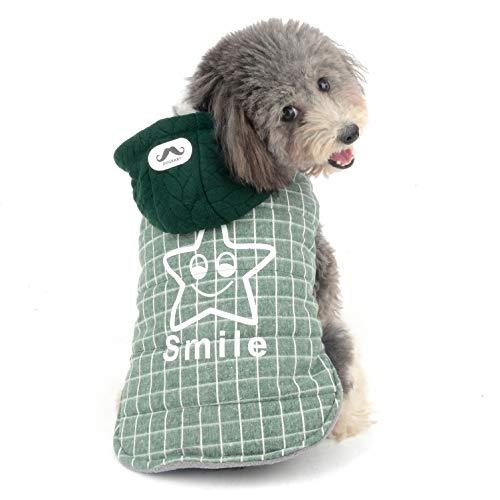 Ranphy Hunde-Fleecejacke mit Kapuze, Mantel für kleine Hunde, Katzen, Welpen, Winterpullover, Chihuahua, Kleidung, Yorkie, Kleidung, kaltes Wetter, Baumwolle, gepolstert, Grün, L