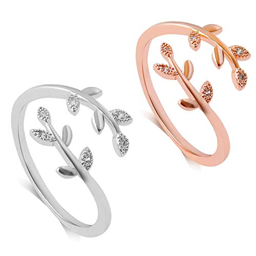 2 Pcs Adjustable Leaf Ring Open Ring Grow Through What You Go Through for Girl Women (Silver +Rose Gold)