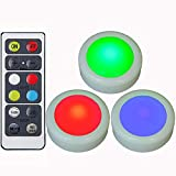 LED Color Changing Lights with Remote & Timer, Colored Puck Light Battery Operated, 16 Multi Colors Wireless LED Cabinet Light, Under Counter Lights, Valentine Day Holiday RGB Decoration Candles