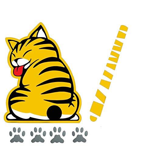 Jinling Coche de Cristal Trasero Lluvia Afeitado de Afeitar Cola Gato Pegatina de Coche 19 * 25 cm (Color : 1)