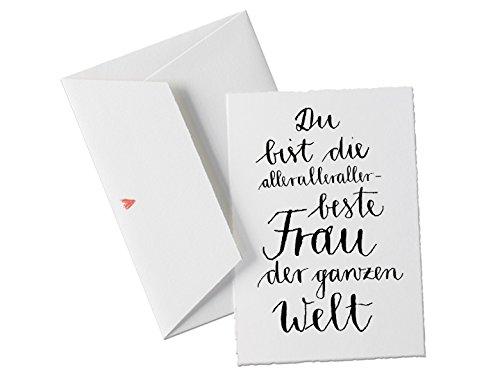 Valentinskarte & Glückwunschkarte für die allerbeste Frau der Welt, Spruchkarte für die Ehefrau, Dankeschön zum Valentinstag, Geburtstag, Hochzeitstag, Jahrestag, Grußkarte mit Herz-Umschlag, Bütte