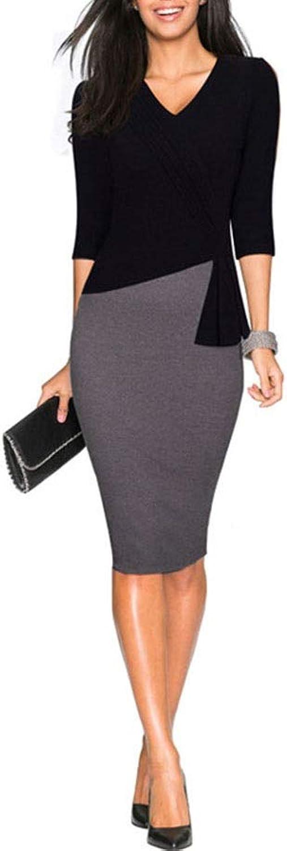 EUIO Women Fashion Elegant VNeck Warm Stylish Wiggle Patchwork Work Dress Office Bodycon Female 3 4 Sleeve Sheath Lady Dress (color   Black, Size   M)