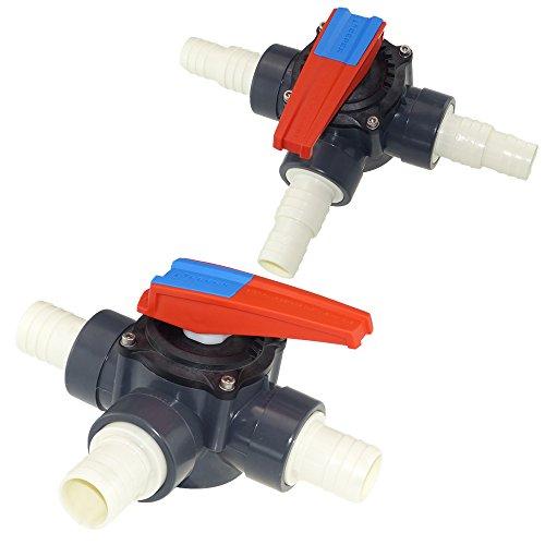 Cepex PVC Zylinderhahn 3 Wege Schlauchtülle 38 mm