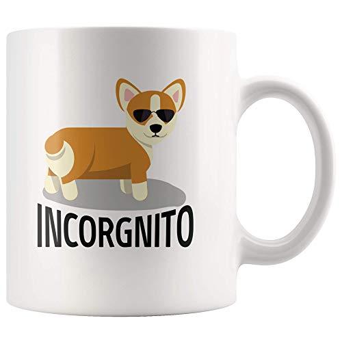 Incorgnito Corgi Hond Grappige Keramische Mok Incognito Huisdier Welsh Corgi in Zonnebril Lover Computer Geek Koffie Thee Mok Hoge Glans + Premium Wit Finish Vaatwasser en Magnetron Veilig