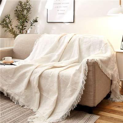 RAQ Solid White Sofa Dekbedovertrek Katoen Reisdeken Vliegtuig Jacquard Gebreide Dekens Met Kwastje Deken Voor Sofa 90x150cm Wit T vorm