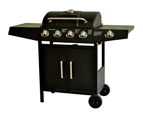 BROILUCK Barbecue A Gas,Compatto Con 4+1 Bruciatore,BBQ Gas Per Pietre Laviche,Con Fornello Laterale,Controlli Della Temperatura
