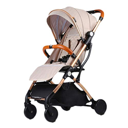 LOFAMI-Landaus Poussette bébé à roulettes réglable en Hauteur, Avion, Transport léger, Poussette de Voyage pour Enfants (Color : Khaki, Taille : 66 * 36 * 98cm)