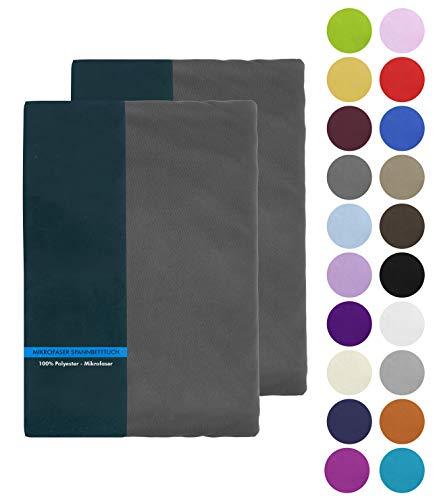 BaSaTex Doppelpack Microfaser Spannbettlaken, Spannbetttuch 2er Pack in vielen Farben und Größen 200x220 cm +40 Steg auch für Wasserbetten und Boxspringbetten - Anthrazit