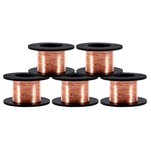 Alambre esmaltado de cobre, 5 Rollos de bobina de cobre esmaltado 0.1mm,...